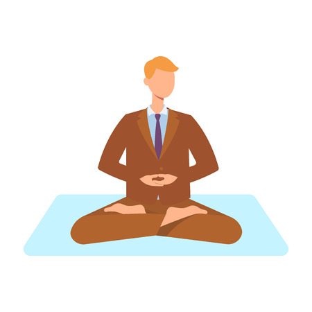 Vector man in corporate outfit, suit sitting in lotus posture practicing yoga. Male character at relaxation session. Concept of meditation, healthy lifestyle. Isolated illustration