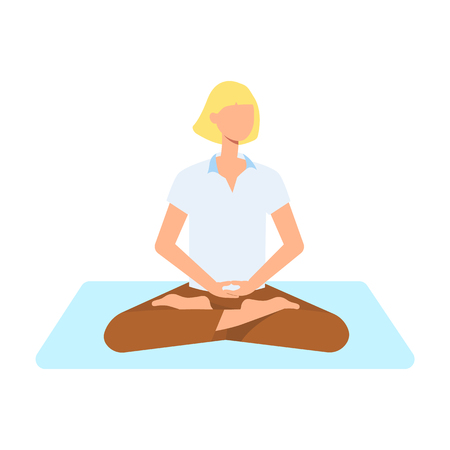 Vector beautiful blonde woman sitting in lotus posture practicing yoga. Female character at relaxation session. Concept of meditation, healthy lifestyle. Isolated illustration Çizim