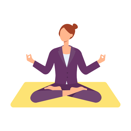 Vector beautiful redhead woman sitting in lotus posture practicing yoga. Female character at relaxation session. Concept of meditation, healthy lifestyle. Isolated illustration Çizim