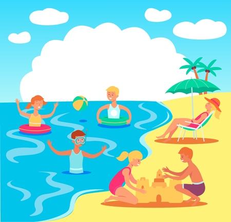 Vector tiener kinderen plezier op het strand zwemmen in zee met opblaasbare ringen, bal spelen, zandkastelen bouwen met volwassen vrouw liggend op een ligstoel onder parasol. Zomer familie vakantie concept