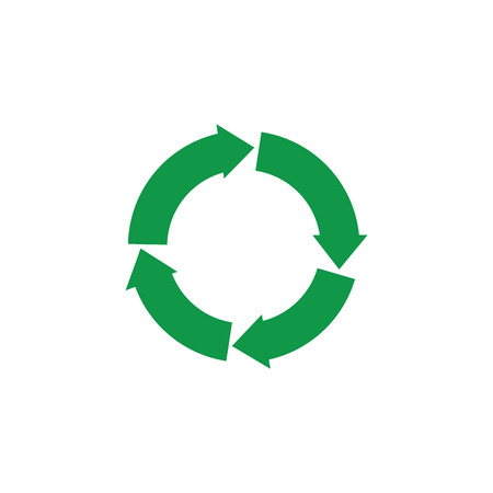 Vector green arrows recycle icon. Zerowaste concept symbol. Environment and ecology care, responsibility concept. Save the earth, reusable product emblem. Isolated illustration Ilustrace