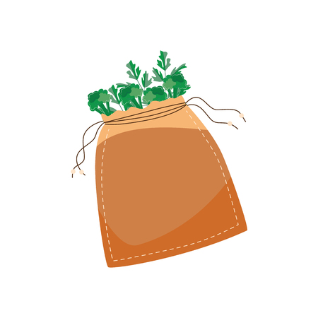Vector illustration of reusable cotton bag for zero waste and refuse of using plastic concept in flat style isolated on white background - brown textile eco friendly package with green food.