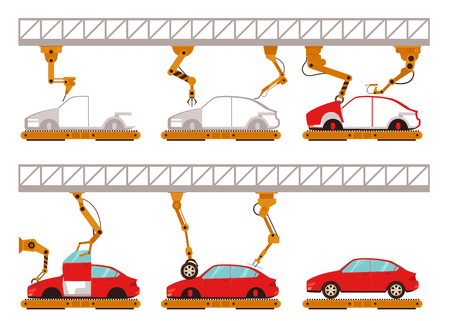 Vector automatic car assembly line with robotic arms concept. Industrial machinery factory producing vehicles with manipulators, welding robots. Isolated illustration