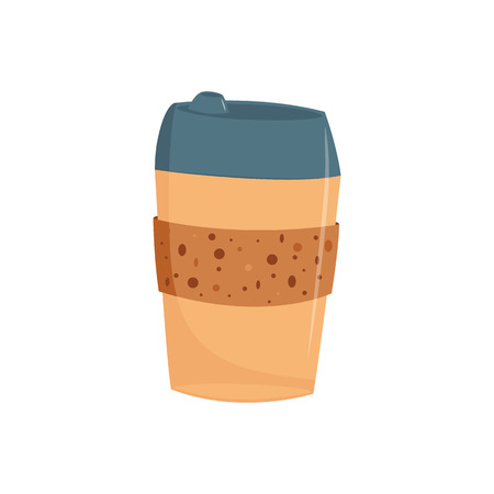 Paper or plastic take away cup of coffee with cap in flat style isolated on white background - vector illustration of cardboard mug of hot drink to go for breakfast or coffee break. Ilustração
