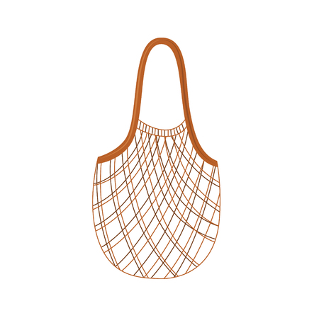 Textile string reusable shopping bag for zero waste and eco friendly concept in flat style isolated on white background - vector illustration of empty cloth package for products.  イラスト・ベクター素材