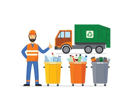 Vector garbage man in unifrom, waistcoat showing thumbs up near separate trash beens and dump truck. Janitor male character removing rubbish, wastes to make it recycled. Flat professional character