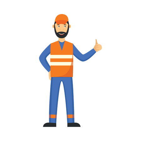 Vector garbage man in unifrom, waistcoat showing thumbs up. Janitor male character removing rubbish, wastes to make it recycled. Flat professional character icon.