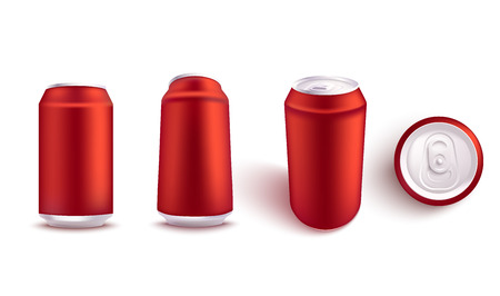 Vector illustration mockup set of blank red aluminum soda or beer can from different angles in realistic 3d style - isolated empty metallic pack for alcohol or fizzy drink branding and advertising.