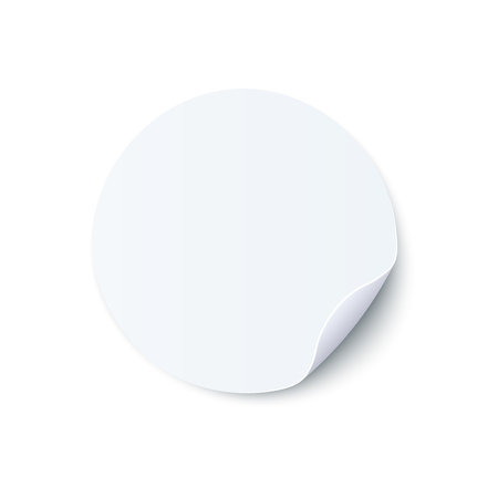 Vector illustration of round blank white sticker with folded edge in realistic style isolated on white background - mock up of circle adhesive curled label or note paper. Illustration