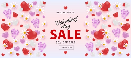 Vector illustration of Valentines Day Sale horizontal banner with sign on pastel pink background with hearts, ribbon bows and flowers - 14 February romantic holiday poster for special offer promotion.