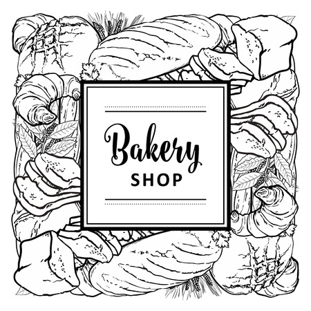Vector bakeshop brand logo with loafs of white, brown rye bread and frame for name. Monochrome bakery menu background, illustration for cafe or restaurant. Baking food package template.