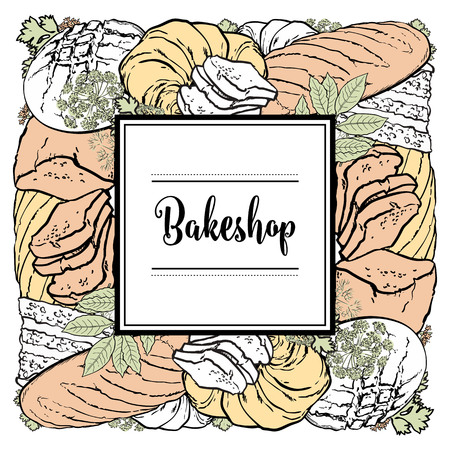 Vector bakeshop brand logo with loafs of white, brown rye bread, croissant and frame for name. Bakery menu background, illustration for cafe or restaurant. Baking food package template. Ilustração