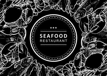 Vector fish market, seafood restaurant, cafe logo, advertising poster with square underwater animals delicacy pattern. Monochrome marine composition with squid meat steak octopus, trout with seashells