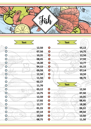 Vector illustration of seafood restaurant or market menu or price list template with various aquatic animals and spices in header - layout with hand drawn sea and ocean food for marine design.