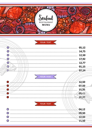Vector seafood restaurant menu design template. cafe logo and list of dishes with sketch underwater animals delicacy pattern. Marine composition with crawfish, lobster, octopus