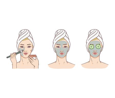 Donna vettoriale e fasi di applicazione della maschera facciale. Trattamento della pelle del viso e concetto di terapia. Giovane donna con asciugamano e salone spa. Design del packaging per prodotti cosmetici per la cura della pelle.