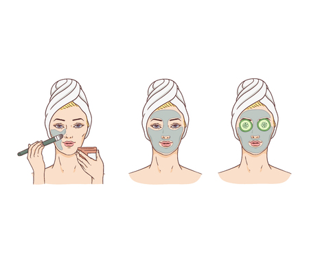 Vector woman and stages of applying facial mask. Face skin treatment and therapy concept. Young woman with towel and spa salon. Cosmetic skincare product packaging design.