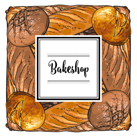 Vector bakeshop brand logo with loafs of white, brown rye bread and frame for name. Bakery menu background, illustration for cafe or restaurant. Baking food package template.