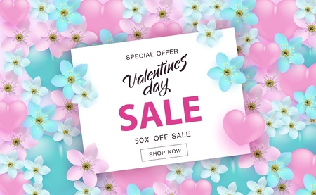 Vector valentines day sale poster, special offer banner with hearts, flowers, hand written lettering. Romantic holiday commercial background, online store clearance, shopping promotion template.
