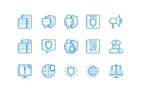 Vector GDPR simple line icons set. General Data Protection Regulation conceptual signs. European private information safety policy symbols collection. Isolated illustration