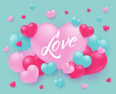 Love text design with sign on big pink heart surrounded by little heart shapes on pastel turquoise background - vector illustration of tender romantic banner for Valentines day or wedding design. Ilustração
