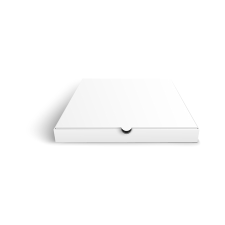 Vector pizza package box white mockup. Cardboard blank packaging for brand design. Italian food delivery container ready for corporate design advertising. Isolated illustration Banque d'images - 115719934