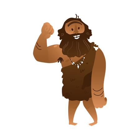 Vector sketch caveman walking in loincloth made of leather waving hand. Prehistory barbarian, ancient primitive homo male character. Isolated illustration