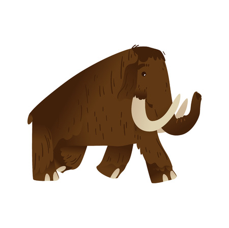Vector mammoth stone age animal cartoon icon. Prehistoric extinct mammal with huge tusk. Ancient are animal with brown fur, long trunk. Isolated illustration