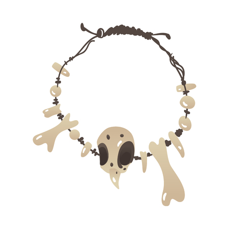 Vector stone age primitive necklace made of bones, sharp fangs and skull. Handmade prehistoric amulet, talisman Ancient civilization archeologic artifact. Isolated illustration