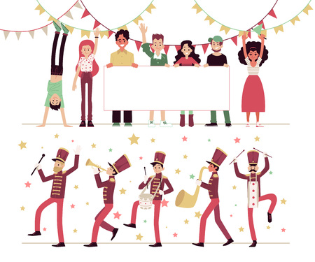 Parade, the procession of people in costumes and musical instruments, marching band. Musicians play the trumpet and drum, demonstration of people with a blank poster. Parade vector flat illustration.