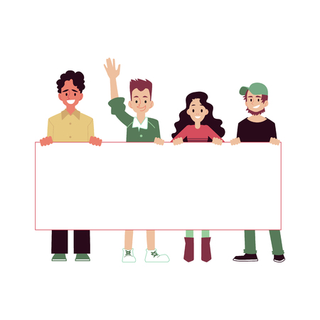 Smiling people taking part in parade or rally, protesters or activists. Group of young men and woman standing together and holding blank banner, vector illustration of parade in a flat cartoon style. Иллюстрация