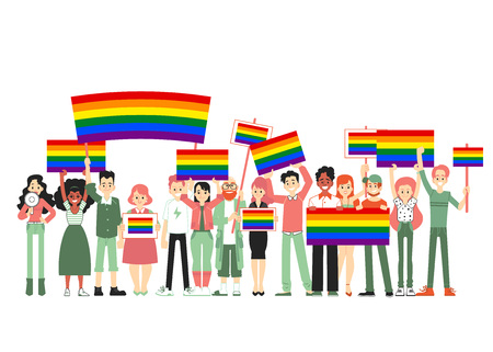 Lgbt and gay parade, protest. People holding rainbow flags, transporants, posters. Vector illustration of gay people, homosexual community. Gay pride, parade sexual discrimination protest in flat. 向量圖像