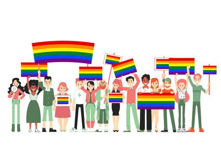 Lgbt e sfilata, protesta. Persone in possesso di bandiere arcobaleno, trasporti, poster. Illustrazione vettoriale di persone, comunità. Orgoglio gay, parata di protesta contro la discriminazione in appartamento.