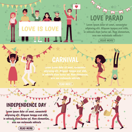 Set of banners with people for independence day, gay parade, carnival. Men and women celebrate, dance and participate in a demonstration and party, the musicians marching. Flat vector illustration. Illustration