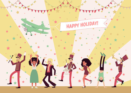 Men and women dancing, a marching band of musicians playing instruments, people celebrating. Airplane in the sky holding a banner Happy Holidays. Flat vector illustration in cartoon style. Vettoriali