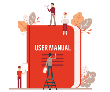 Tiny people make up and read the red user manual. Small men, women and leaves with large user guide book. Isolated vector illustration of manual on white background. Ilustração