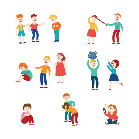 Vector bullying and children harassment concept set. Lonely boys, girls victim sitting holding knees while kids viciously laughing pointing to them. Girl taking away girl's ball, backpack kids fighing Illustration