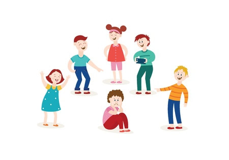 Vector concept of bullying and children harassment. Lonely boy victim sitting holding knees with sad depressed face with children laughing and pointing to him. Illusztráció