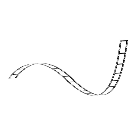Vector curved film strip. Movie production tape, vintage cinematography symbol. Retro photography equipment, analog photo and video cameras object. Film-roll for entertainment design Illustration