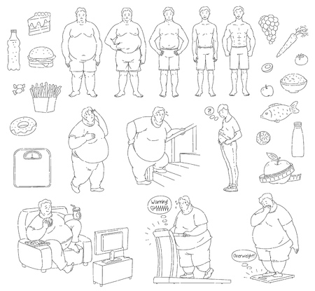 Vector healthy eating and sportive lifestyle characters, food and unhealthy fastfood diet and obesity men. Obese people with belly fat suffering from overweight, fit handsome men monochrome set