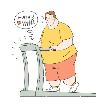 Vector overweight obese man jogging at Treadmill with high pulse sweating trying to loss weigh. Fat male character with obesity and incorrect training. Health problems connected with weight.