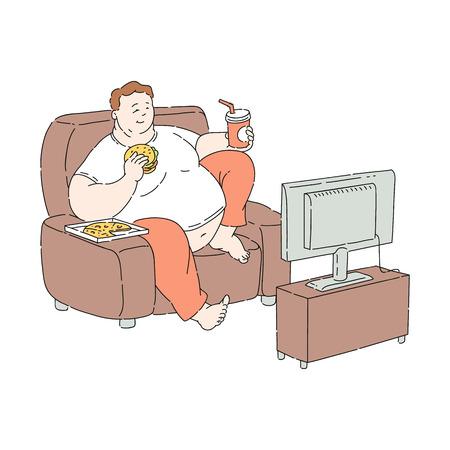Vector sovrappeso obeso uomo infelice seduto al divano a guardare la TV mangiando fastfood. Personaggio maschile grasso con obesità. Uomo di peso eccessivo. Problemi di salute legati a cibi e diete malsane