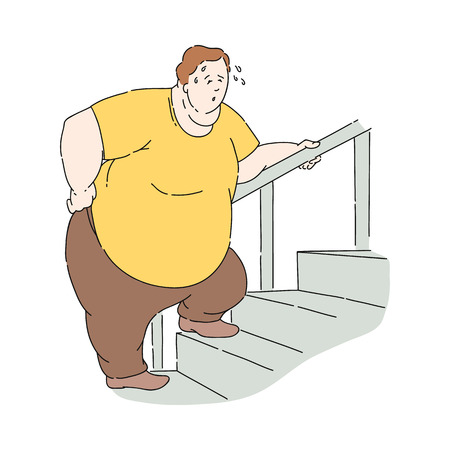Vector overweight obese unhappy man sweating climbing up the stairs. Fat male character with obesity. Excessive weight man. Health problems connected with weight. Isolated illustration