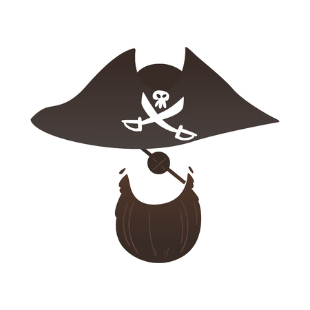 Vector pirate captain hat with cross saber, skull, eye patch and beard photo booth prop, party costume scrapbooking decoration. Birthday, halloween party mask for kids, selfie props design