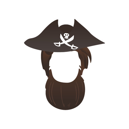 Vector pirate captain hat with cross saber, skull and beard photo booth prop, party costume scrapbooking decoration. Birthday, halloween party mask for kids, selfie props design