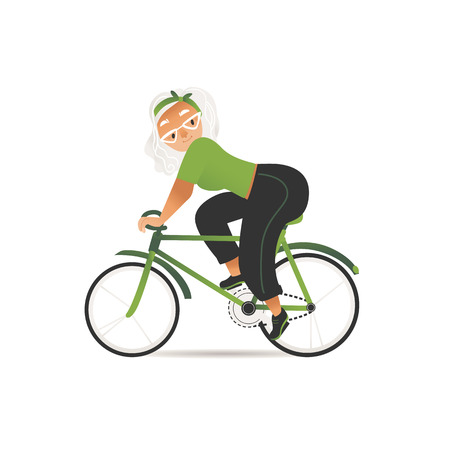 Vector cheerful elderly woman riding bicycle. Old age female character and active lifestyle, sport activity. Senior grey-haired lady enjoying cycling. Healthy lifestyle grandmother.
