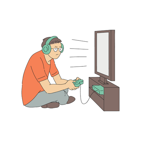 Vector young teen man addicted to computer games. Video games addict tired man sitting near monitor screen in headphones holding joystick. Social problem connected with isolation concept Illustration