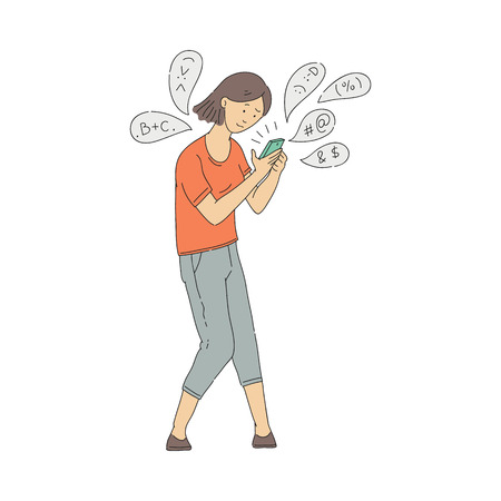 Vector young girl holding smartphone with internet and smartphone addiction. Chatting addict woman with emoji and messages around. Female puzzled character with gadget Çizim