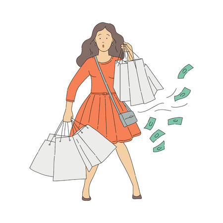 Vector surprised woman with lots of shopping bags with spontaneous and undesirable purchases. Concept of shopaholism and consumerism. Unhappy young woman with shopping addiction spent money in mall. 일러스트