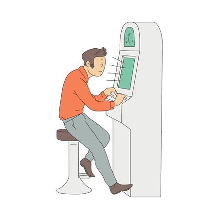 Vector gambling addiction concept with adult man sitting at slot machine in casino. Male gambler with addict problem. Bad habit of male character leading to losses. Isolated illustration